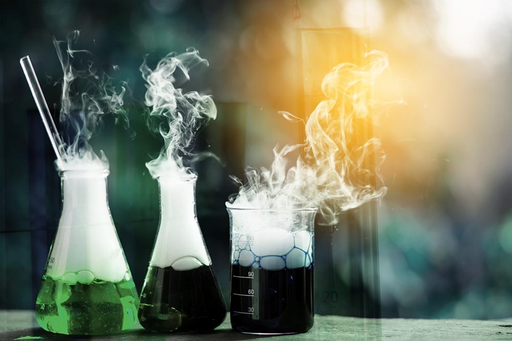 Photo of smoking chemicals