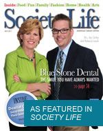 The cover of Society Life featuring dentists Rebecca Lauck and Jay Corley.