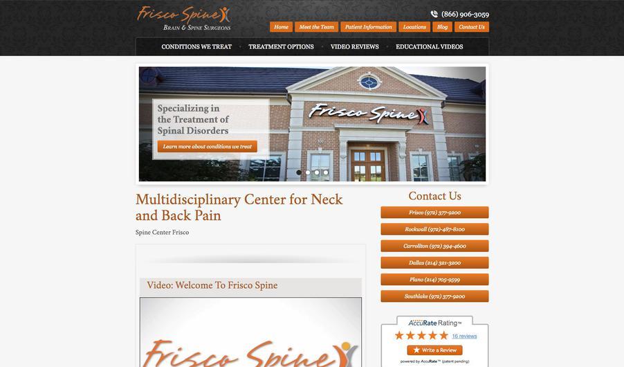 The custom website of Frisco Spine