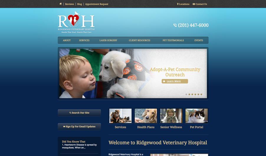 The custom website of Ridgewood Veterinary Hospital
