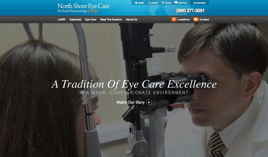 The custom website of North Shore Eye Care