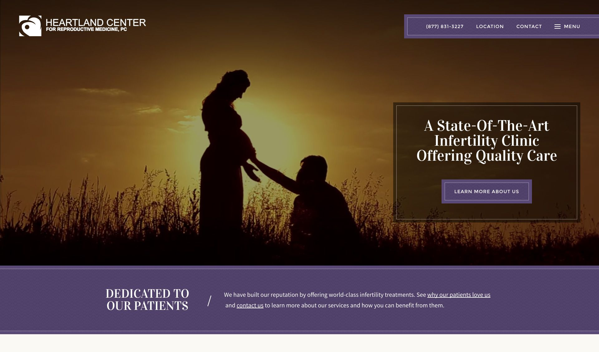 The website of Heartland Center for Reproduction