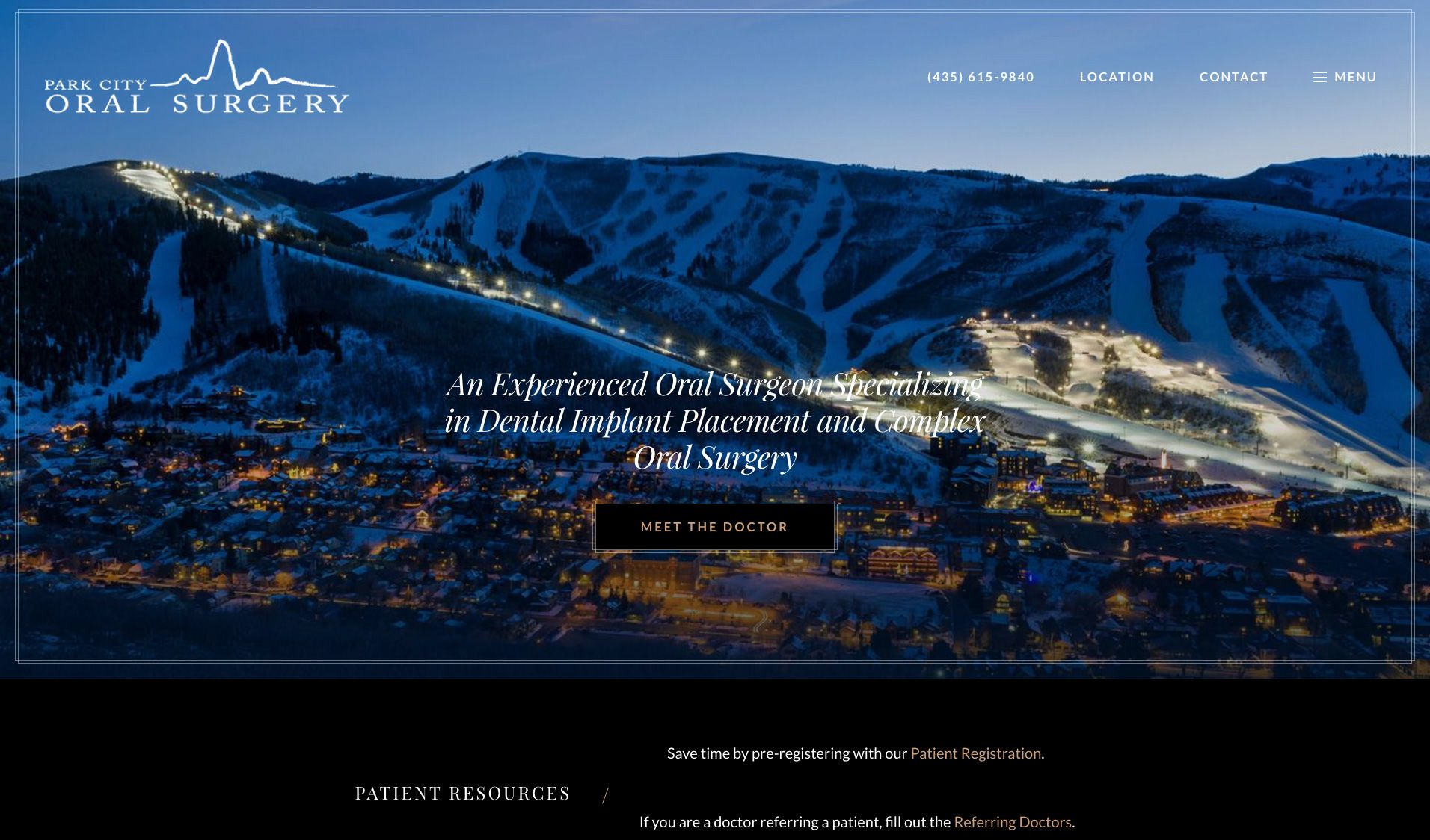 The website of Park City Oral Surgery