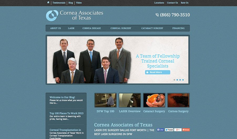 The website of Cornea Associates of Texas