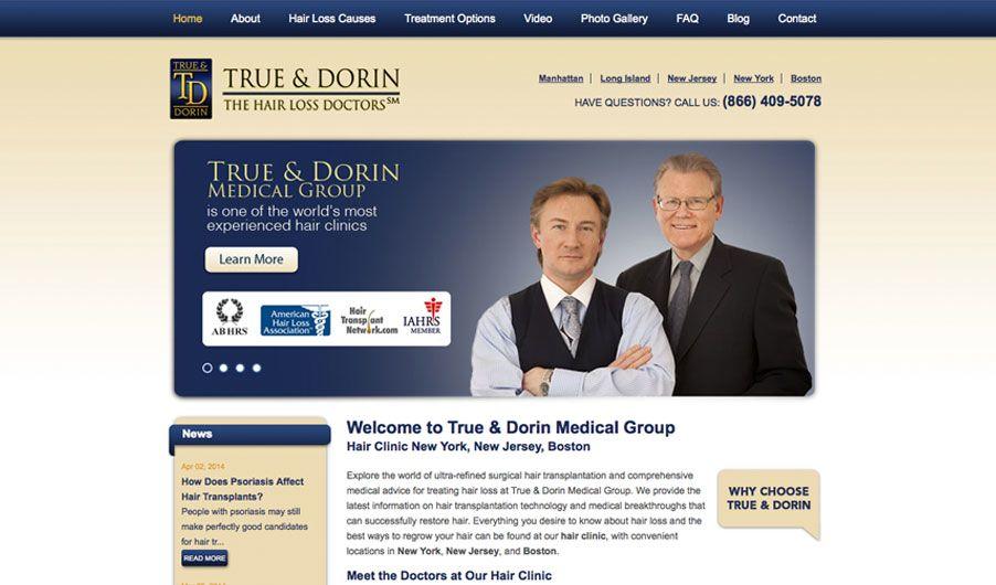 The custom website of True & Dorin