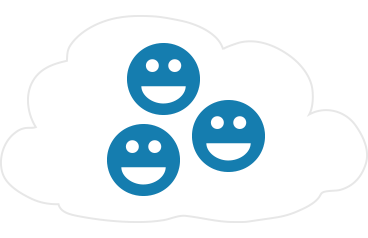 Three blue smiley face icons contained within a cloud