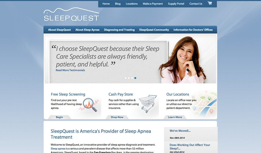 The website of SleepQuest