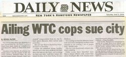Ailing WTC cops sue city