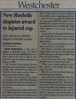 New Rochelle disputes award to injured cop
