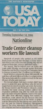 Trade Center cleanup workers file lawsuit