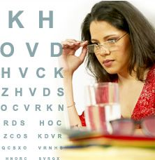 Woman with glasses reading eye chart