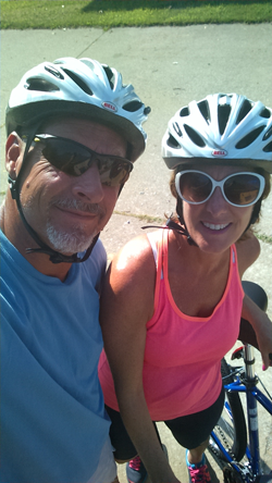 Dr. Sartini during a bike ride with her husband