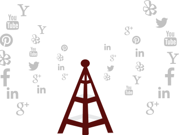 Radio relay tower transmitting social signals, represented by social media icons