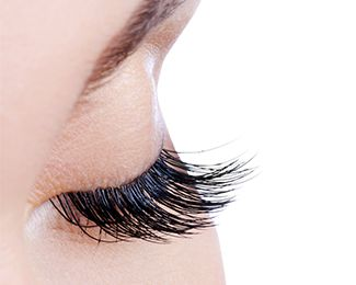 Woman's very long, dark eyelashes