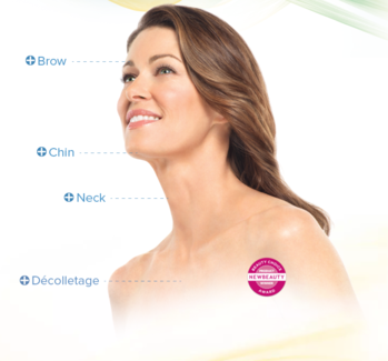 Photo with text showing areas Ultherapy® can treat