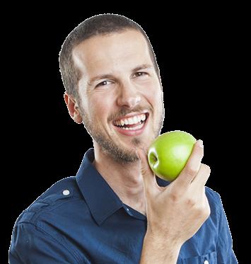 A man eating an apple