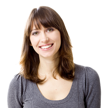A brunette woman with a healthy smile