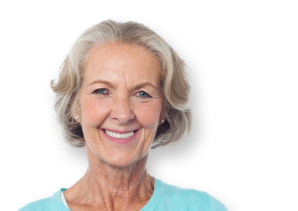 An older woman with secure dentures