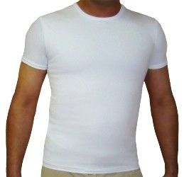 A man's torso wearing a tight, white shirt.