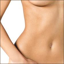 A partial view of a woman's torso and the lower half of her breast.