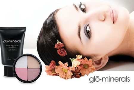 Beautiful woman and GloMinerals products