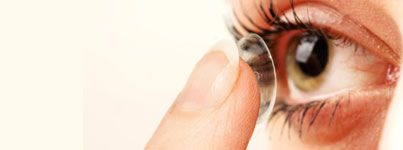 Close-up of a patient putting in a contact lens