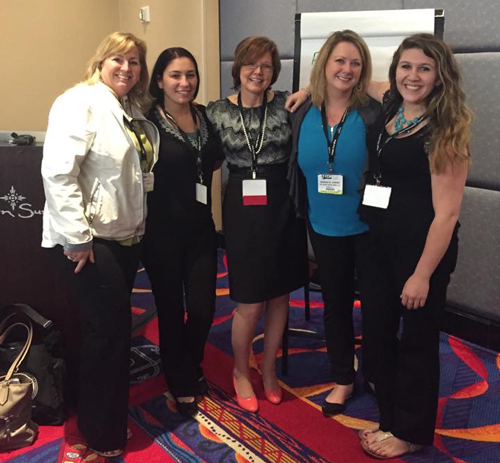 Mary, Kate, Jennifer McDonald, Amanda and Deanna at the CSDA Charter Oak Dental Meeting 2015, With Speaker (In the middle) Jennifer McDonald at our continuing education course.