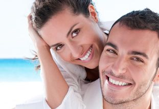 Couple with bright white teeth