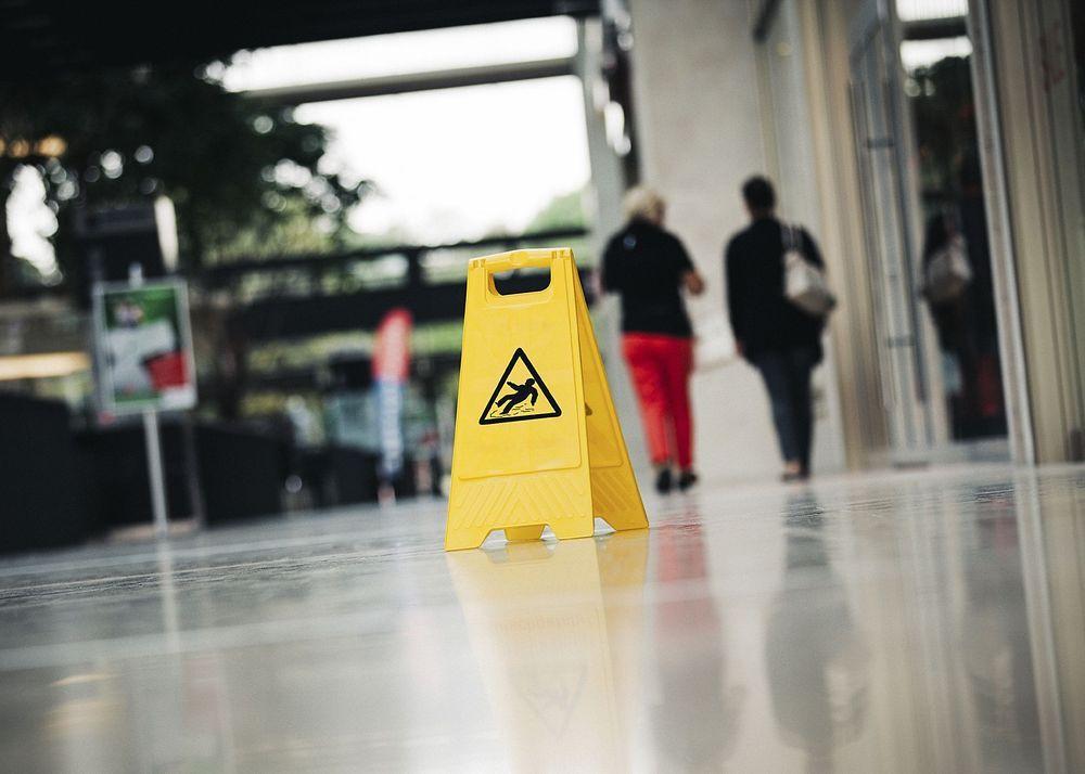Caution sign on slippery floor