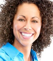 Smiling woman with very curly hair