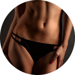 Toned midsection of a woman in underwear