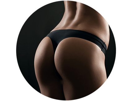 Close-up of a woman's toned buttocks