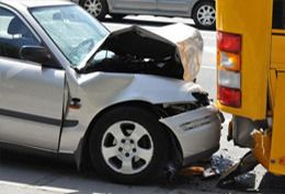 A car that has been involved in a crash