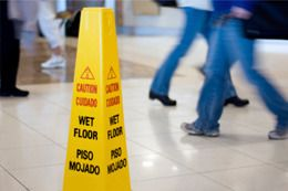 A 'caution wet floor' sign