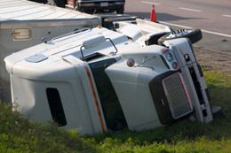 A large truck on its side