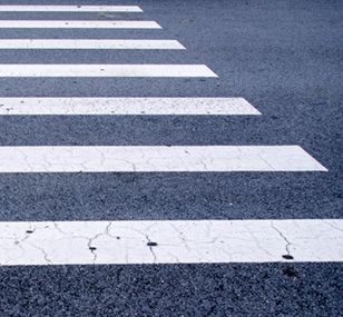 Close-up of a crosswalk.