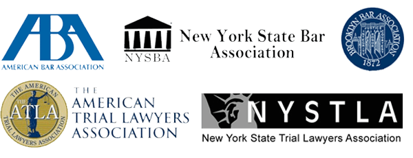 Seals of the ATLA, NYSBA, NYSTLA, ABA, and Brooklyn Bar Association.