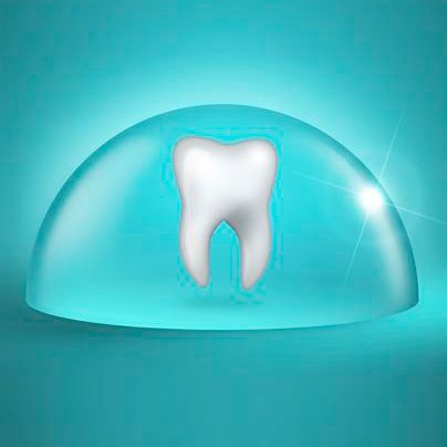 Tooth inside clear bubble.