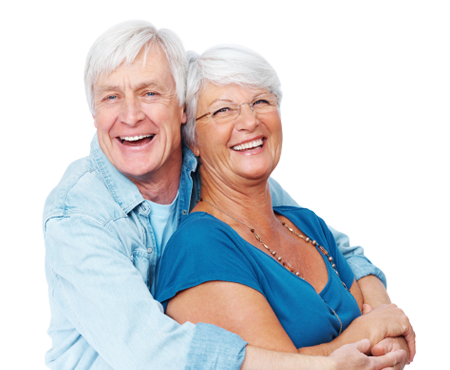 Older couple holding each other and smiling together