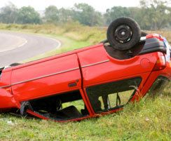Photo of a rollover car accident