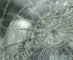 Close up of shattered car windshield