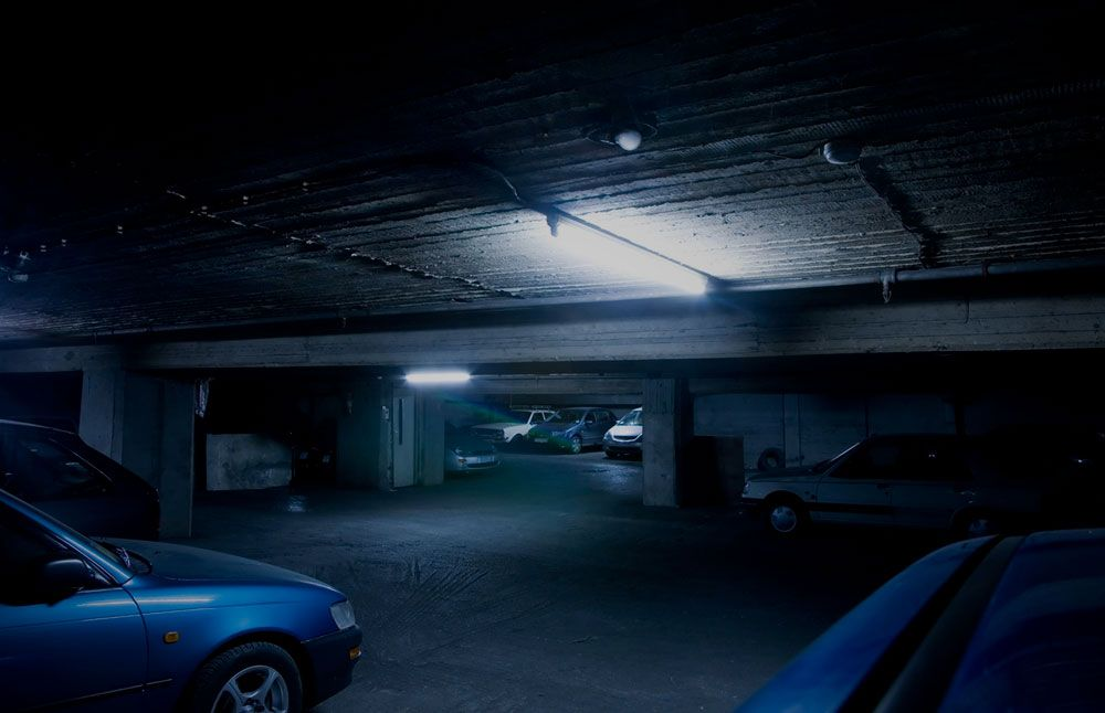 Dimly lit parking structure