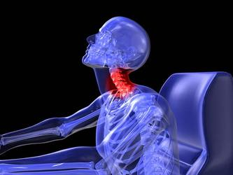 An x-ray image with the neck highlighted in red
