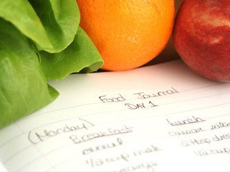Food journal next to produce
