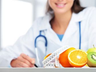 Doctor, fruit, and measuring tape