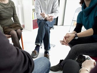 Support group seated in circle