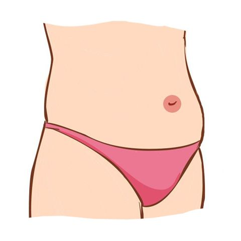 Illustration of stomach with bellybutton in red