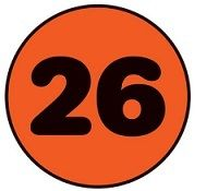 Number 26 in orange and black