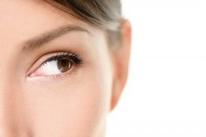 Close up of woman's eye and brow