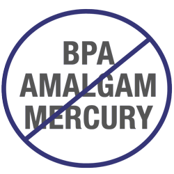"Circle with the words ""BPA,"" AMALGAM,"" and"" MERCURY"" inside and a diagonal line through it"